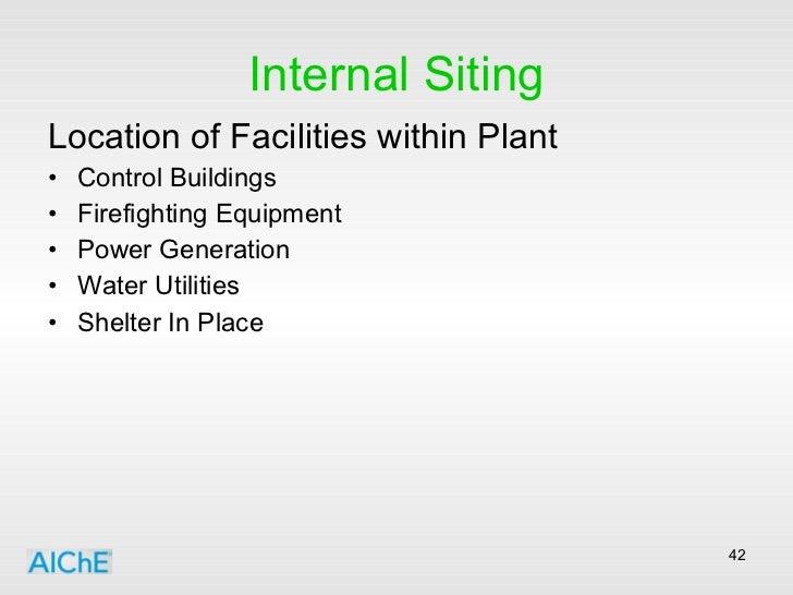 Internal Siting <ul><li>Location of Facilities within Plant </li></ul><ul><li>Control Buildings </li></ul><ul><li>Firefigh...