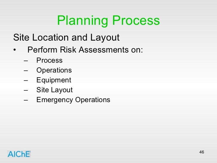 Planning Process <ul><li>Site Location and Layout </li></ul><ul><li>Perform Risk Assessments on: </li></ul><ul><ul><li>Pro...