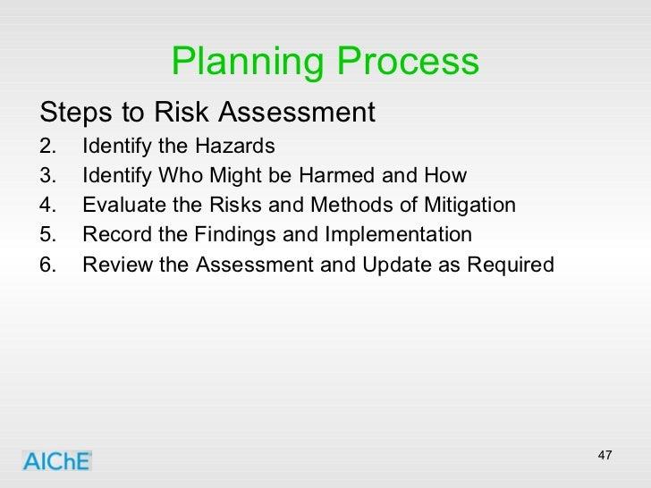 Planning Process <ul><li>Steps to Risk Assessment </li></ul><ul><li>Identify the Hazards </li></ul><ul><li>Identify Who Mi...