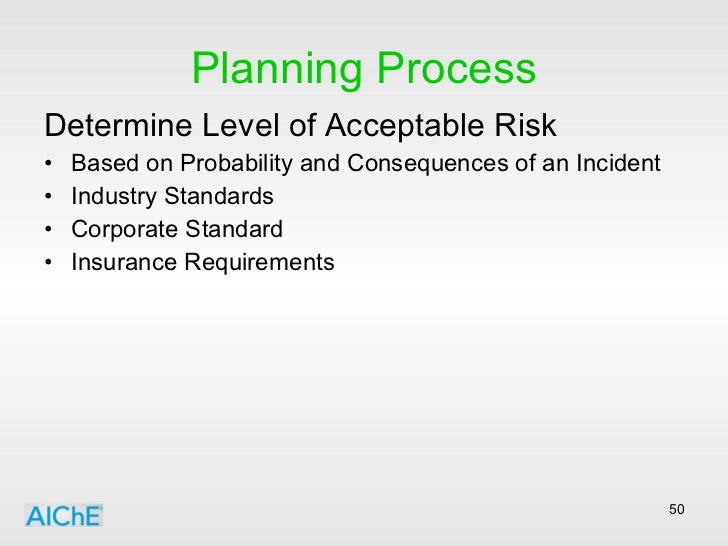 Planning Process <ul><li>Determine Level of Acceptable Risk </li></ul><ul><li>Based on Probability and Consequences of an ...