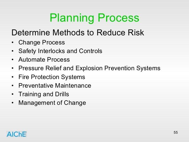 Planning Process <ul><li>Determine Methods to Reduce Risk </li></ul><ul><li>Change Process </li></ul><ul><li>Safety Interl...