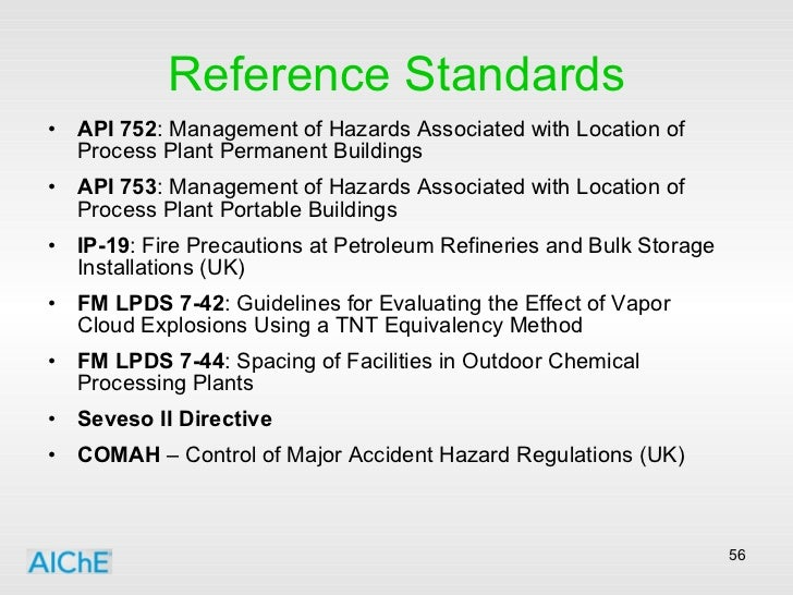 Reference Standards <ul><li>API 752 : Management of Hazards Associated with Location of Process Plant Permanent Buildings ...