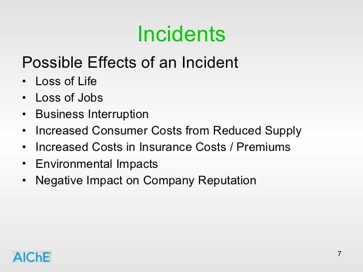 Incidents <ul><li>Possible Effects of an Incident </li></ul><ul><li>Loss of Life </li></ul><ul><li>Loss of Jobs </li></ul>...