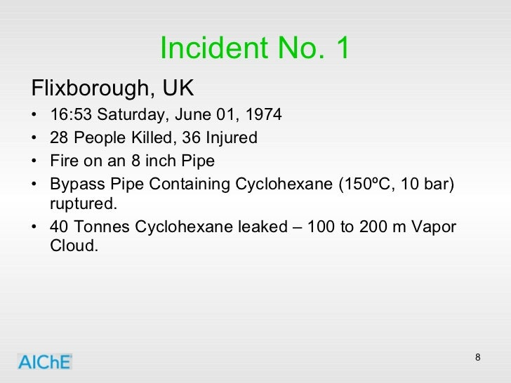 Incident No. 1 <ul><li>Flixborough, UK </li></ul><ul><li>16:53 Saturday, June 01, 1974 </li></ul><ul><li>28 People Killed,...