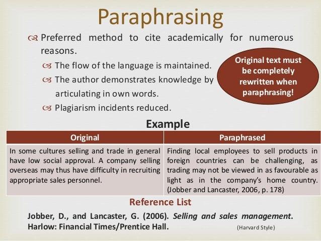 Harvard referencing paraphrasing example