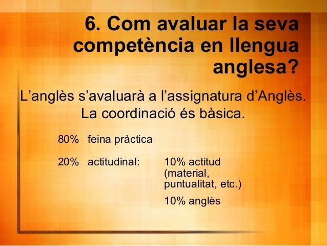 6. Com avaluar la seva competència en llengua anglesa? L'anglès s'avaluarà a l'assignatura d'Anglès. La coordinació és bàs...