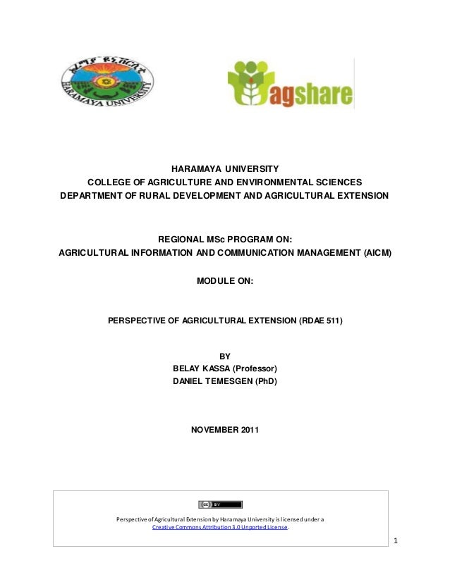 1 HARAMAYA UNIVERSITY COLLEGE OF AGRICULTURE AND ENVIRONMENTAL SCIENCES DEPARTMENT OF RURAL DEVELOPMENT AND AGRICULTURAL E...
