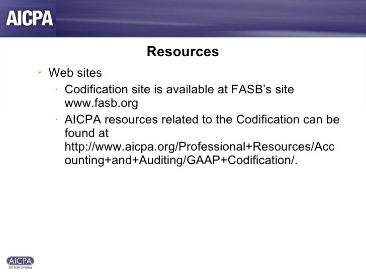 AICPA FASB Accounting Standards Presentation