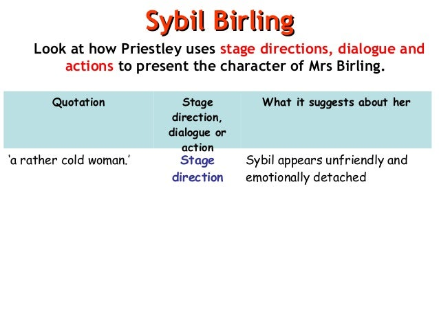 an inspector calls sheila birling essay Arthur birling and sheila birling in an inspector calls by jb priestley - arthur birling and sheila birling in an inspector calls by jb priestley i have chosen to write my essay about mrarthur birling and mrs sheila birling.