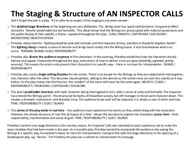 an inspector calls stage directions essay Need essay sample on an inspector calls   this should happen because it will focus the attention on sheila who is, as it states in the stage directions, agitated .