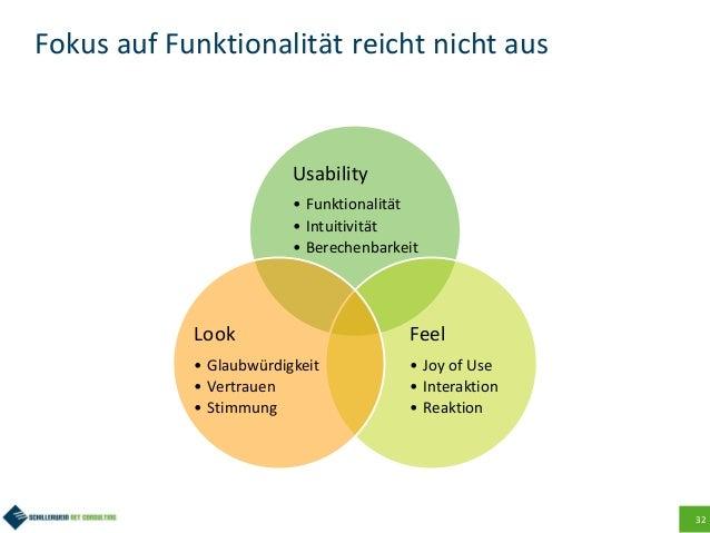 32 Fokus auf Funktionalität reicht nicht aus Usability • Funktionalität • Intuitivität • Berechenbarkeit Feel • Joy of Use...