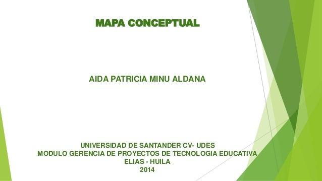 MAPA CONCEPTUAL AIDA PATRICIA MINU ALDANA UNIVERSIDAD DE SANTANDER CV- UDES MODULO GERENCIA DE PROYECTOS DE TECNOLOGIA EDU...
