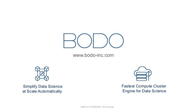 BodoInc.Confidential– Donotcopy Simplify Data Science at Scale Automatically Fastest Compute Cluster Engine for Data...