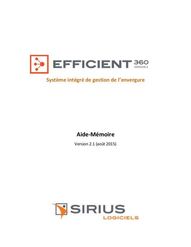 Système intégré de gestion de l'envergure Aide-Mémoire Version 2.1 (août 2015) VERSION 2