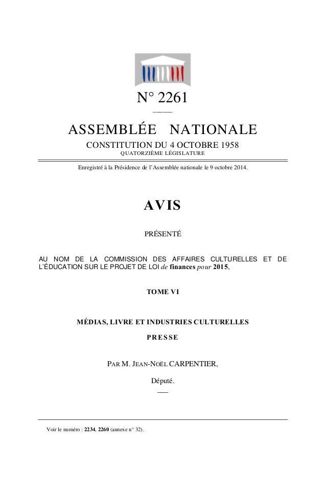 N° 2261 ______ ASSEMBLÉE NATIONALE CONSTITUTION DU 4 OCTOBRE 1958 QUATORZIÈME LÉGISLATURE Enregistré à la Présidence de l'...