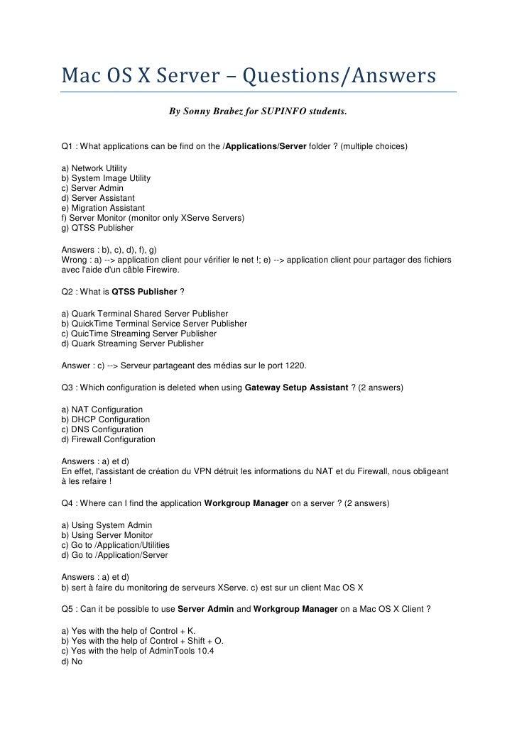 Mac OS X Server - MCQ - 2008 - EN & FR