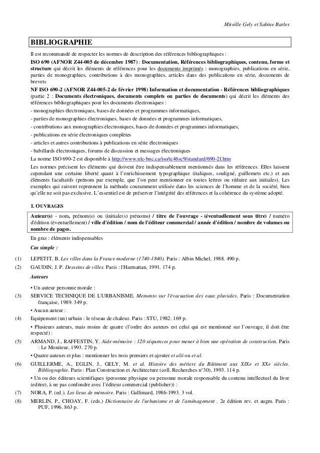 Mireille Gely et Sabine Barles      BIBLIOGRAPHIE      Il est recommandé de respecter les normes de description des référe...