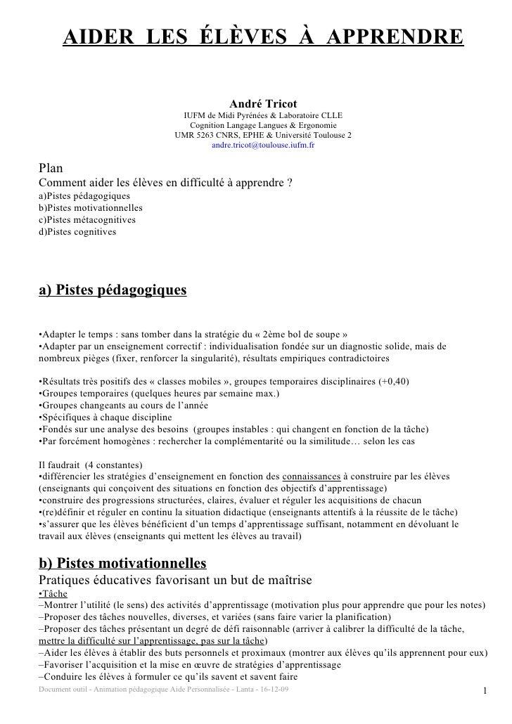 AIDER LES ÉLÈVES À APPRENDRE                                                  André Tricot                                ...