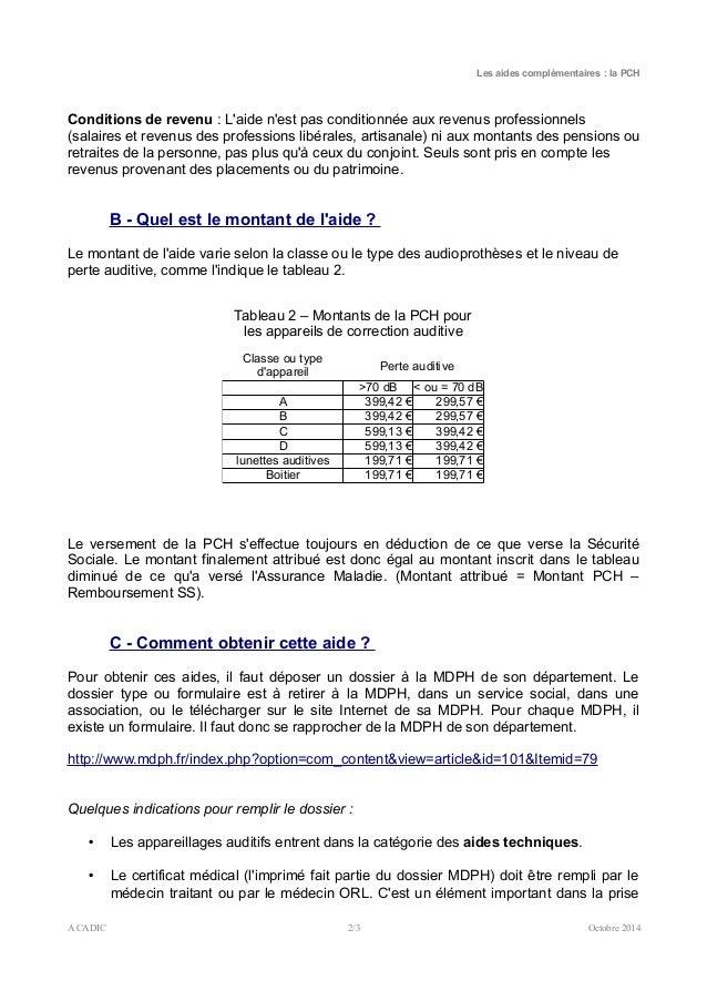 Aides complémentaires la Prestation de Compensation du Handicap (PCH) Slide 2