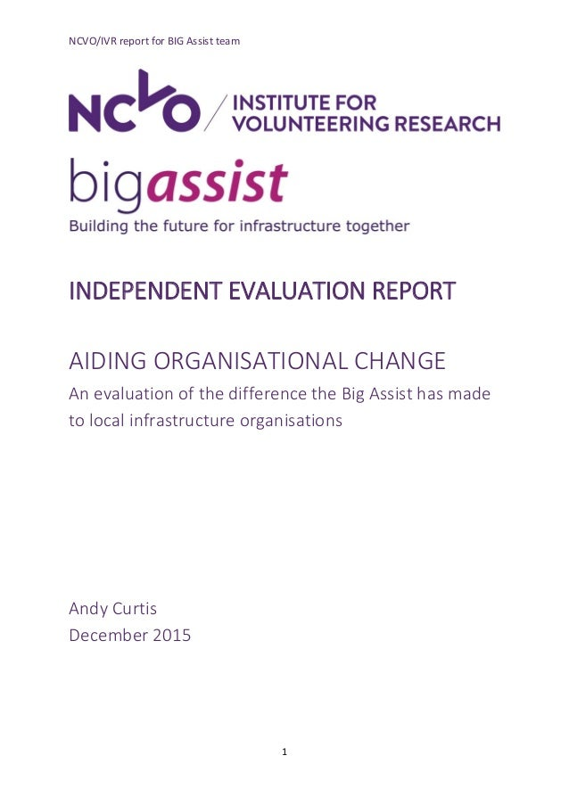 NCVO/IVR report for BIG Assist team 1 INDEPENDENT EVALUATION REPORT AIDING ORGANISATIONAL CHANGE An evaluation of the diff...