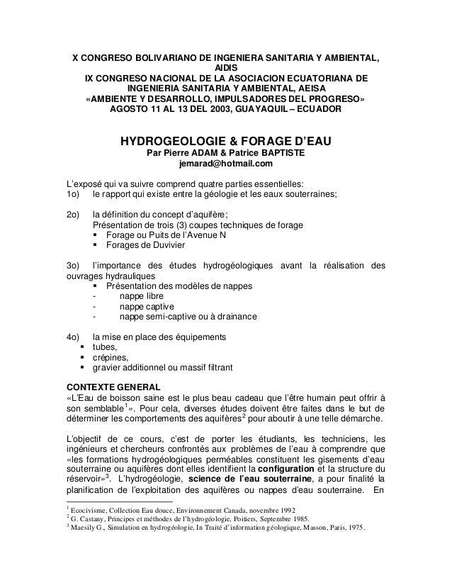 X CONGRESO BOLIVARIANO DE INGENIERA SANITARIA Y AMBIENTAL, AIDIS IX CONGRESO NACIONAL DE LA ASOCIACION ECUATORIANA DE INGE...