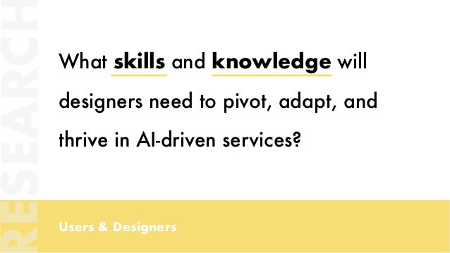 Users & Designers What skills and knowledge will designers need to pivot, adapt, and thrive in AI-driven services? ESEARC