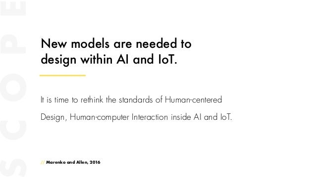 New models are needed to design within AI and IoT. // Marenko and Allen, 2016 It is time to rethink the standards of Human...