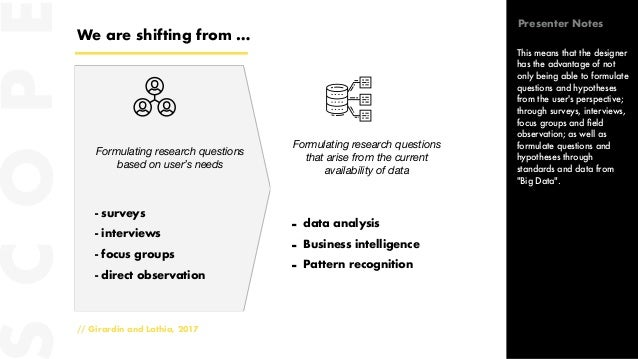 We are shifting from … // Girardin and Lathia, 2017 Formulating research questions based on user's needs Formulating resea...