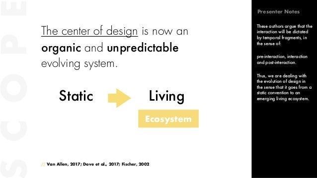 The center of design is now an organic and unpredictable evolving system. // Van Allen, 2017; Dove et al., 2017; Fischer, ...