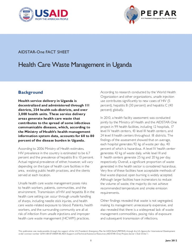 AIDSTAR-One FACT SHEETHealth Care Waste Management in UgandaBackground                                                    ...