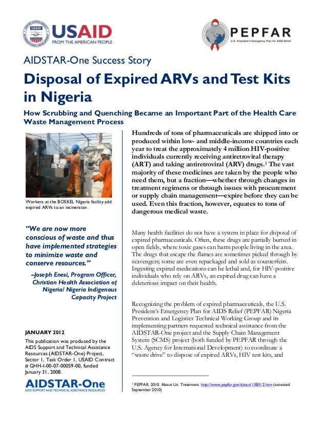 AIDSTAR-One Success StoryDisposal of Expired ARVs and Test Kitsin NigeriaHow Scrubbing and Quenching Became an Important P...