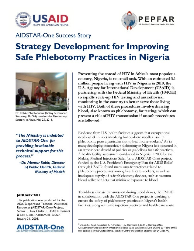 AIDSTAR-One Success StoryStrategy Development for ImprovingSafe Phlebotomy Practices in Nigeria                           ...
