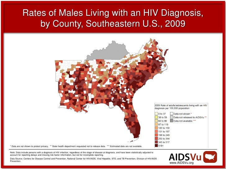 Illustrating HIVAIDS In Southeast US - Hiv us map