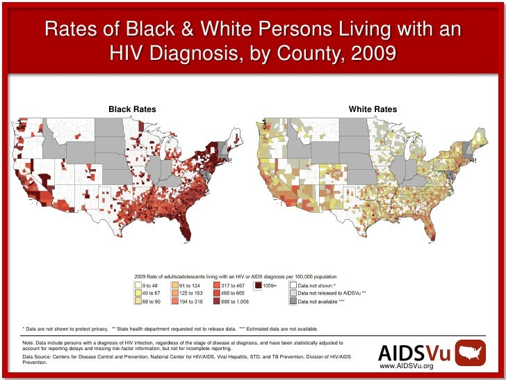 Rates of Black & White Persons Living with an                 HIV Diagnosis, by County, 2009                              ...