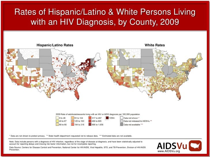 Rates of Hispanic/Latino & White Persons Living         with an HIV Diagnosis, by County, 2009                            ...