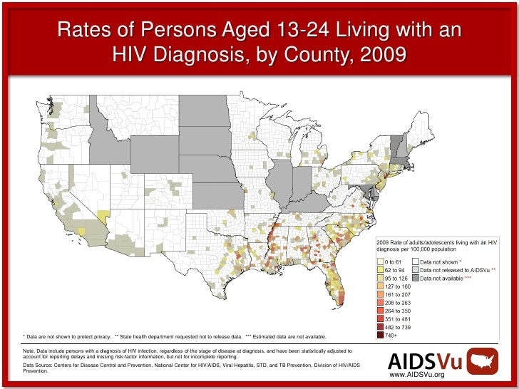 Rates of Persons Aged 13-24 Living with an                    HIV Diagnosis, by County, 2009* Data are not shown to protec...