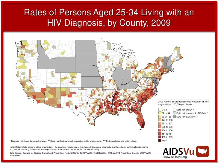 Rates of Persons Aged 25-34 Living with an                    HIV Diagnosis, by County, 2009* Data are not shown to protec...