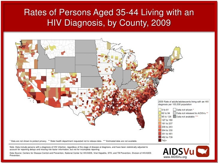 Rates of Persons Aged 35-44 Living with an                    HIV Diagnosis, by County, 2009* Data are not shown to protec...