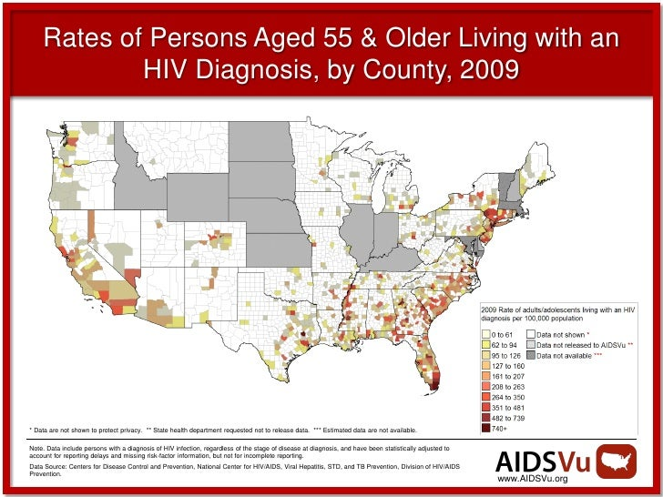 Rates of Persons Aged 55 & Older Living with an            HIV Diagnosis, by County, 2009* Data are not shown to protect p...
