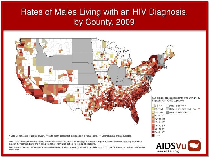 Rates of Males Living with an HIV Diagnosis,                         by County, 2009* Data are not shown to protect privac...