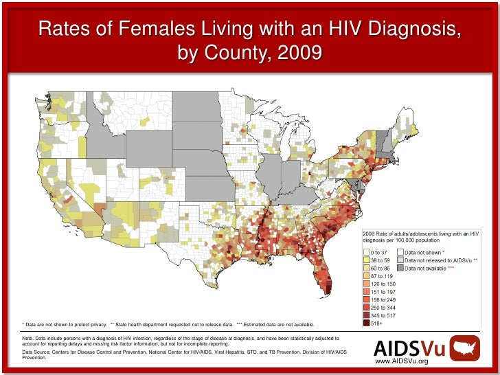 Rates of Females Living with an HIV Diagnosis,                     by County, 2009* Data are not shown to protect privacy....