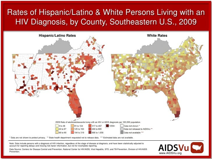 Rates of Hispanic/Latino & White Persons Living with an  HIV Diagnosis, by County, Southeastern U.S., 2009                ...