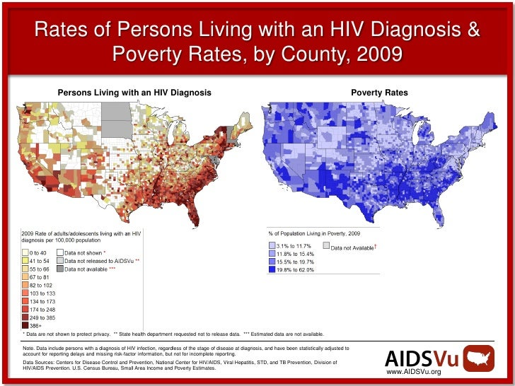 Rates of Persons Living with an HIV Diagnosis &             Poverty Rates, by County, 2009                Persons Living w...