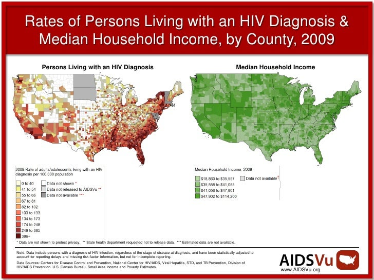 Rates of Persons Living with an HIV Diagnosis &      Median Household Income, by County, 2009                Persons Livin...