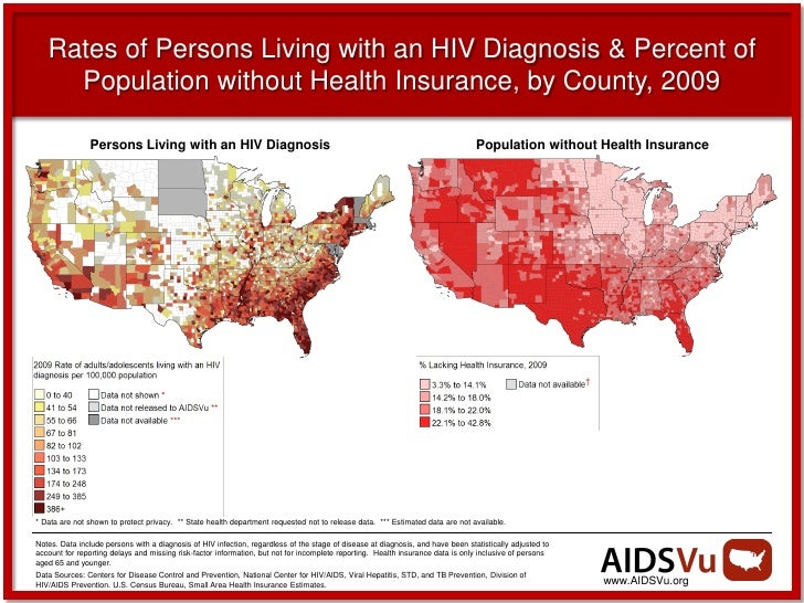 Rates of Persons Living with an HIV Diagnosis & Percent of     Population without Health Insurance, by County, 2009       ...