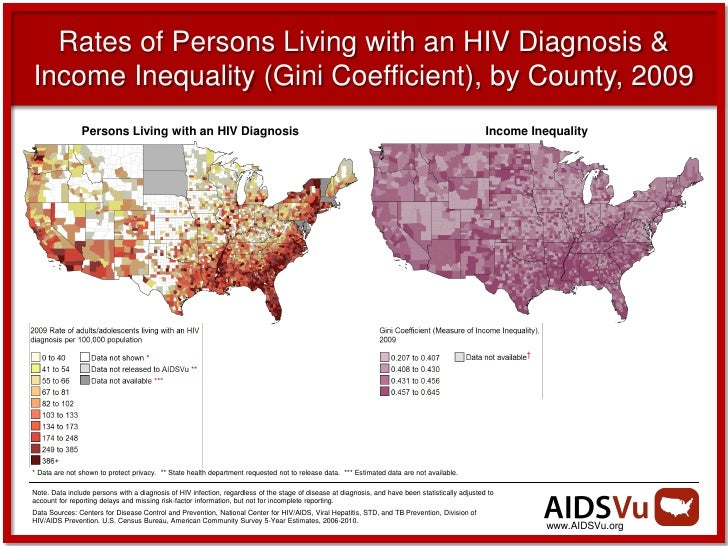 Rates of Persons Living with an HIV Diagnosis &Income Inequality (Gini Coefficient), by County, 2009                Person...