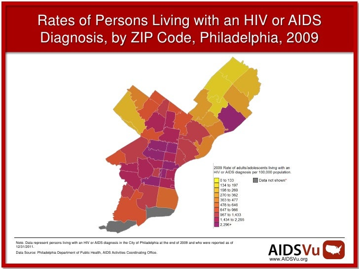 Rates of Persons Living with an HIV or AIDS             Diagnosis, by ZIP Code, Philadelphia, 2009Note. Data represent per...