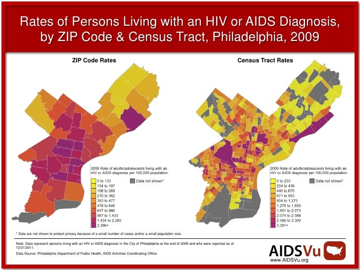 Rates of Persons Living with an HIV or AIDS Diagnosis,     by ZIP Code & Census Tract, Philadelphia, 2009                 ...