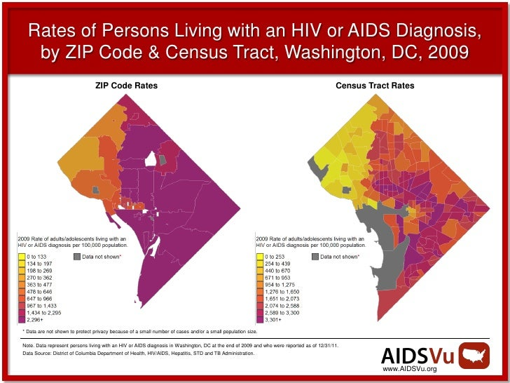 Rates of Persons Living with an HIV or AIDS Diagnosis,   by ZIP Code & Census Tract, Washington, DC, 2009                 ...