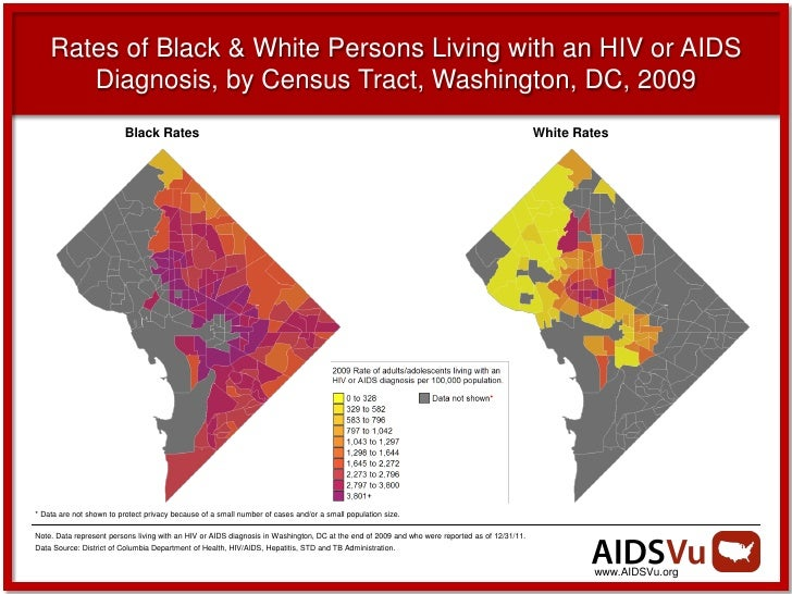Rates of Black & White Persons Living with an HIV or AIDS       Diagnosis, by Census Tract, Washington, DC, 2009          ...